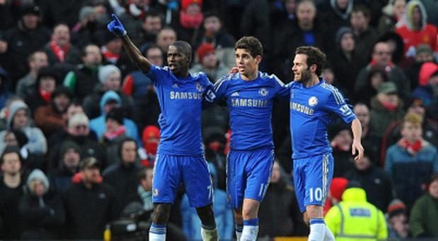 Ramires (left) celebrates scoring his side's second goal