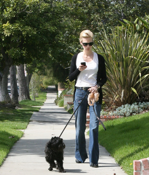 January Jones takes her mutt for a walk