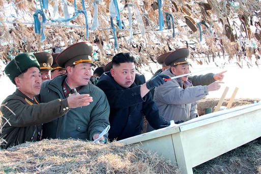 North Korean leader Kim Jong-Un (C) visits the Wolnae Islet Defence Detachment in the western sector of the front line, which is near Baengnyeong Island of South Korea. All images by Reuters