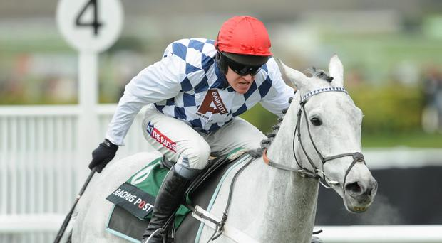 Simonsig ridden by Barry Geraghty goes on to win the Racing Post Arkle Challenge Trophy Chase during Champion Day of the 2013 Cheltenham Festival