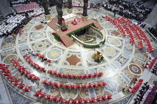 Cardinals in the Sistine Chapel begin the conclave to elect a new pope