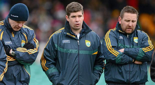 The Kerry management team including (l-r) Diarmuid Murphy, Eamonn Fitzmaurice and Cian O'Neill have had plenty to ponder during their poor start to the Allianz National League campaign
