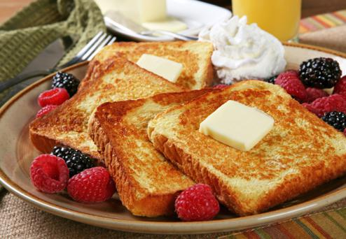 Toast is the second most popular breakfast.