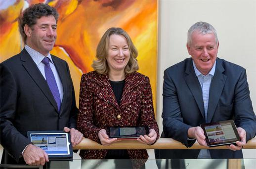 Glanbia chairman Liam Herlihy, group finance director Siobhan Talbot and MD John Moloney.