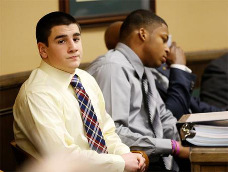 Trent Mays and Ma'lik Richmond (right) in juvenile court in Steubenville, Ohio