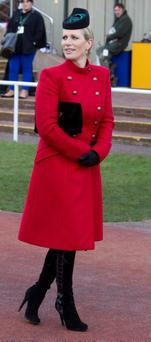 Zara Philips wearing a Paul Costelloe coat and Philip Treacy hat