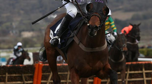 Holywell ridden by Richie McLernon on the way to winning the Pertemps Final during St Patrick's Thursday at the 2013 Cheltenham Festival