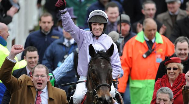 Paul Carberry celebrates on Solwhit after winning the Ladbrokes World Hurdle on St Patrick's Thursday
