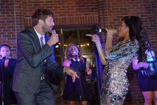 Chris O'Dowd and Jessica Mauboy sing together at 'The Sapphires' premiere after-party in New York City