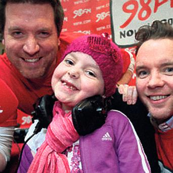 98fm's Dermot Whelan and Dave Moore with Louise Shortall (7) from Clondalkin