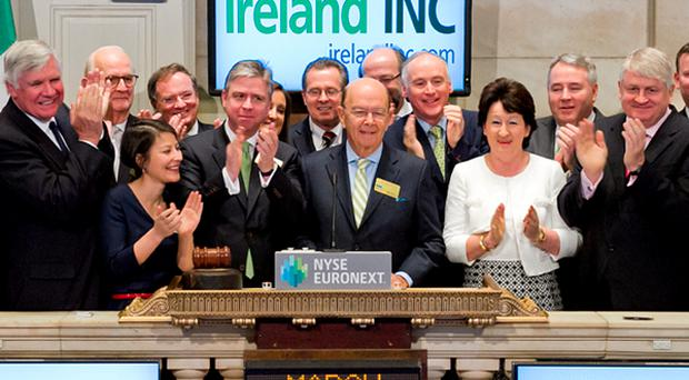 US and Irish Business Leaders, in honor of Ireland Day, ring the Opening Bell at the New York Stock Exchange on March 15, 2013