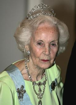 FILE - 2013 MARCH 11: Princess Lilian of Sweden, 97, has died on March 10, 2013 in Sweden. STOCKHOLM, SWEDEN - APRIL 30: Princess Lilian of Sweden arrives for the Gala Dinner at Royal Palace to celebrate King Carl Gustaf XVI of Sweden's 60th Birthday on April 30, 2006 in Stockholm, Sweden. (Photo by Chris Jackson/Getty Images)