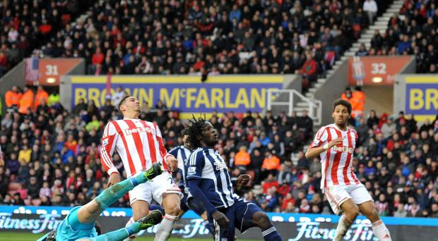 West Bromwich Albion's Romelu Lukaku sees his effort go over the bar during the game