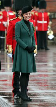 The Duchess of Cambridge visit the 1st Battalion Irish Guards to attend the St. Patrick's Day Parade at Mons Barracks, Aldershot, England.