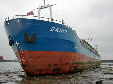 The MV Danio, an 80m long ship which has run aground after it hit rocks on the Farne Islands off the Northumberland coast at 4.30am Saturday morning.