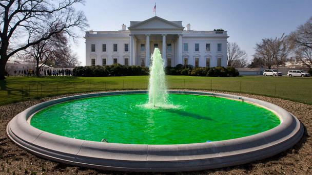 The White House fountain goes green for St Patrick's Day