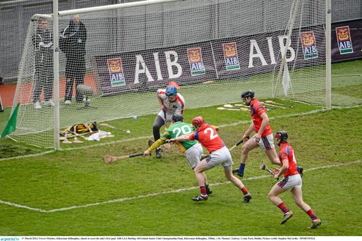 17 March 2013; Trevor Fletcher, Kilcormac-Killoughey, shoots to score his side's first goal. AIB GAA Hurling All-Ireland Senior Club Championship Final, Kilcormac-Killoughey, Offaly, v St. Thomas', Galway. Croke Park, Dublin. Picture credit: Stephen McCarthy / SPORTSFILE