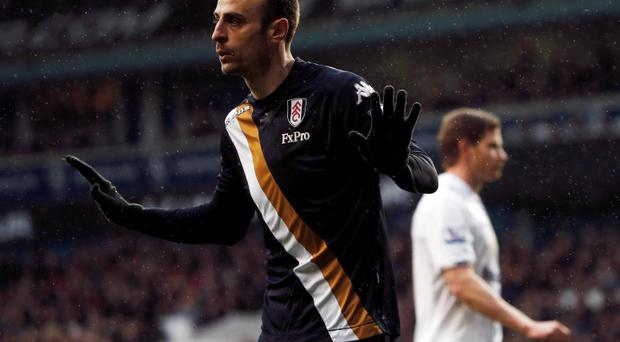 Fulham's Dimitar Berbatov celebrates his goal against Tottenham Hotspur