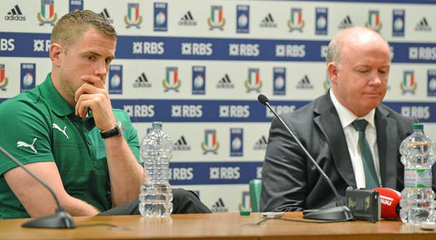Ireland captain Jamie Heaslip and head coach Declan Kidney during the post match press conference
