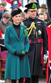 Kate Middleton and Prince William, attended a St Patrick's Day Parade at Mons Barracks in Aldershot