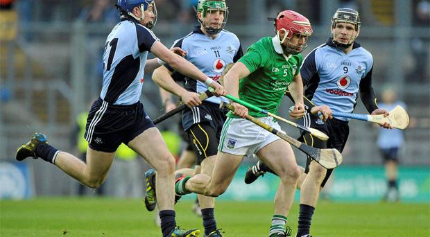Limerick's Paudie O'Brien charges through the Dubs defence