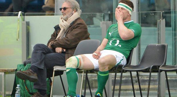 Brian O'Driscoll in the sin bin during Ireland's game against Italy