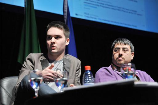 Coderdojo founders James Whelton (left) and Bill Liao in Cork City Hall at the recent Irish ITLG Global Technology Leaders Summit 2013 in partnership with Cork City Council, Cork Chamber, CIT & UCC