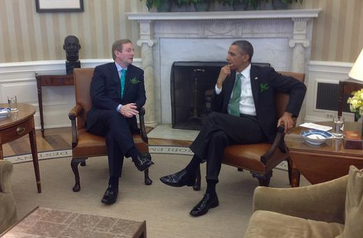 US President Barack Obama speaks with Taosieach Enda Kenny in the White House