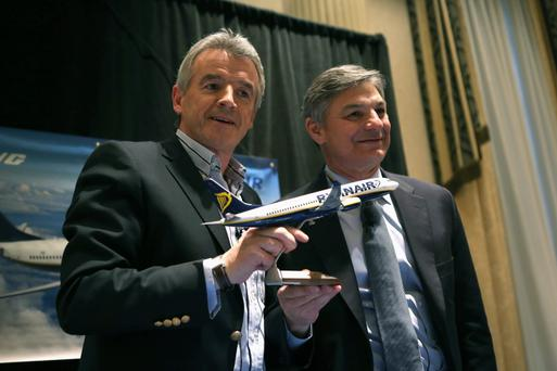 Boeing Commercial Airplanes President & CEO Ray Conner and Ryanair CEO Michael O'Leary pose after signing a $15.6 billion purchase agreement on March 19, 2013 in New York City.