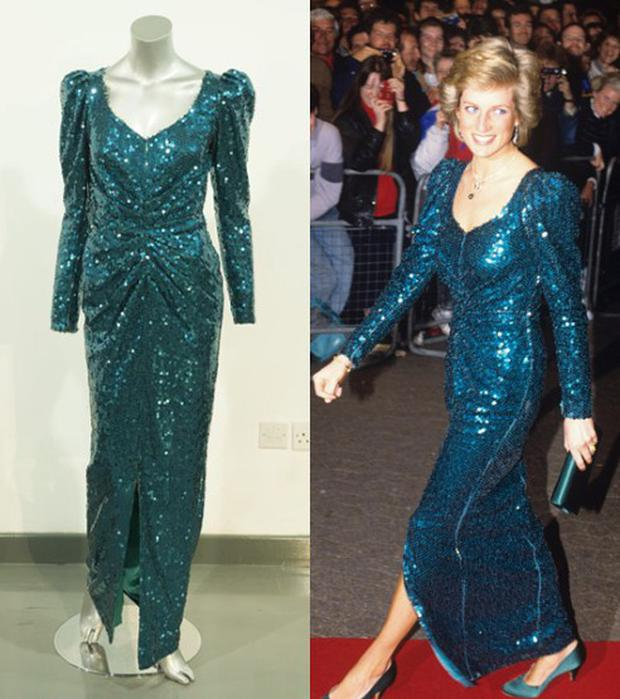 A Catherine Walker sea-green sequinned evening gown with ruched detailing down the centre. This dress formed part of an extended order from Catherine Walker, before the Princess of Wales's state visit to Austria in 1989. Sold for: £90,000 (€105,000)