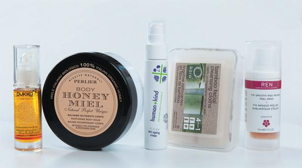 Pukka Nourishing Face Oil; Perlier Honey Nurturing Body Balm; Human+Kind All-in-One Anti Ageing Cream; Kaia Bamboo Facial Cleansing Cloths; Ren F10 Smooth and Renew Peel Mask