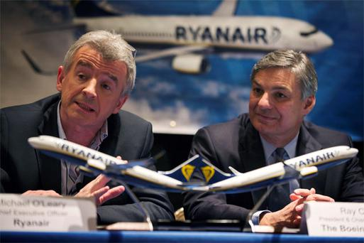 Michael O'Leary and Ray Conner, CEO of Boeing, answer questions during an announcement of the $16bn aircraft deal