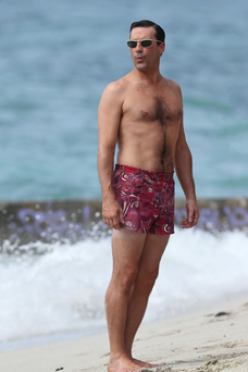 John Hamm on set in Hawaii in the new series of Mad Men.