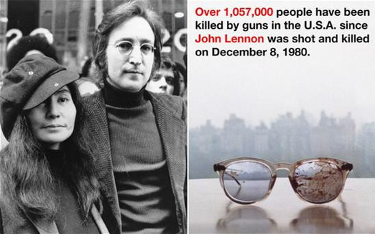 Yoko Ono has tweeted an image of John Lennon's bloodstained glasses together with a message about how many people have been killed by guns in the US since his death Photo: AP/@yokoono