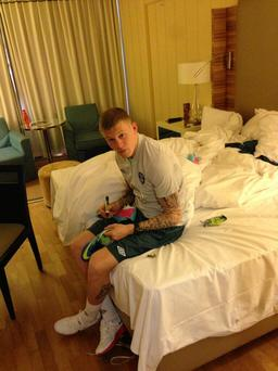 James McClean takes a marker to his football boots