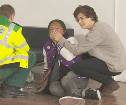 Harry Styles was tricked byDec, disguised as a fainting fan