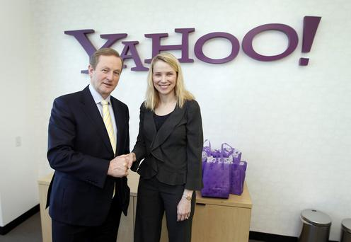 Yahoo Inc. CEO Marissa Mayer and Irish Prime Minister An Taoiseach Enda Kenny, pose for a photo during a visit to Yahoo headquarters in Sunnyvale, Calif.