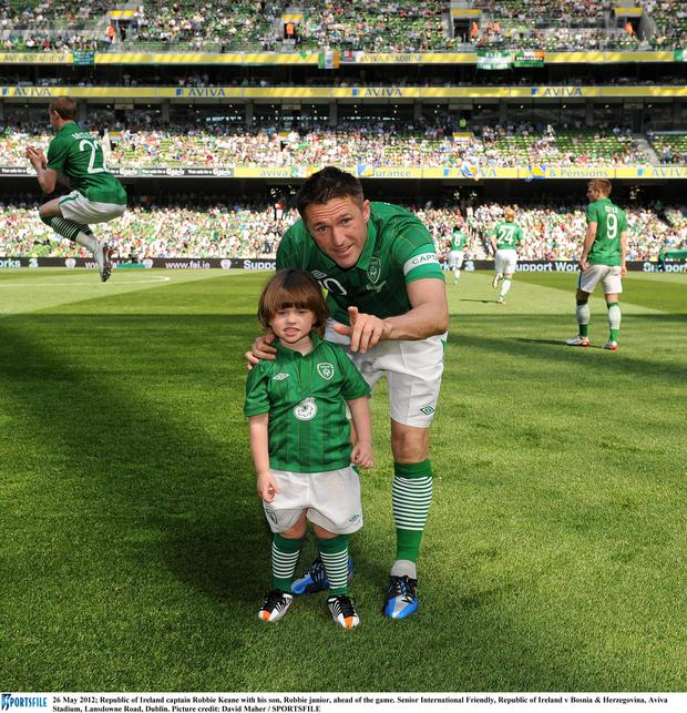 Republic of Ireland captain Robbie Keane with his son, Robbie junior