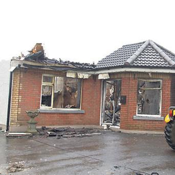 The Whearty family home in Bellewstown, Co Meath, was gutted by the fire.