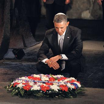 US President Barack Obama lays a wreath during his visit to the Yad Vashem Holocaust Memorial in Jerusalem. REUTERS