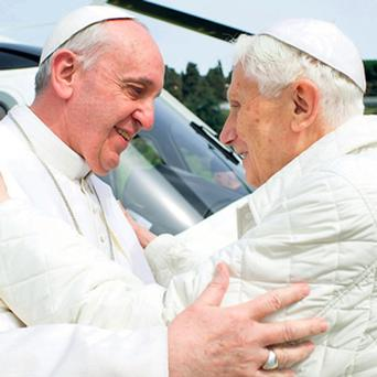 FRIENDLY EMBRACE: Pope Francis meets Pope Emeritus Benedict XVI in Castel Gandolfo, south of Rome