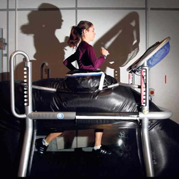 Linda Byrne on an anti-gravity treadmill in the Institute of Sport