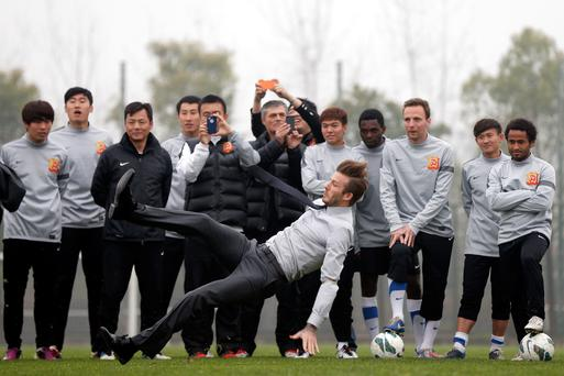Beckham is on a five day visit to China.