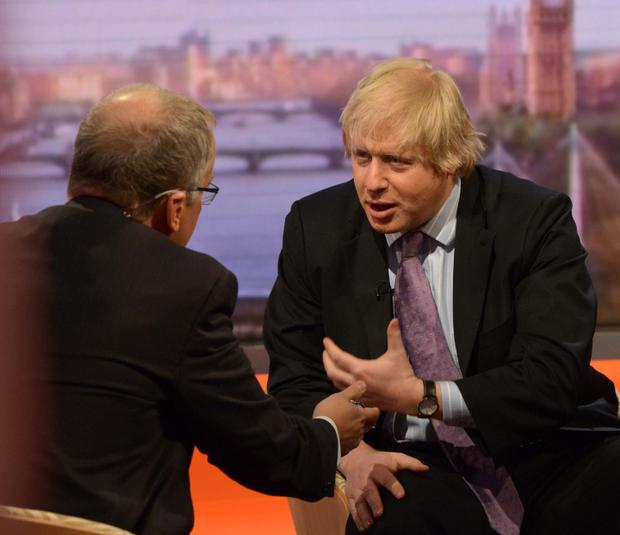 Boris Johnson, Mayor of London, talking to Eddie Mair on the BBC1 current affairs programme, The Andrew Marr Show