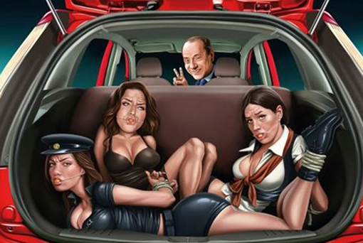 The advert depicting former Italian Prime Minister Silvio Berlusconi at the wheel of a car with a group of bound women in the boot