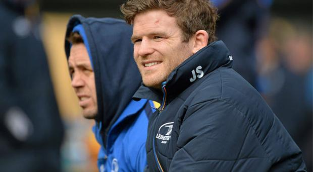 Gordon D'Arcy, here with Isaac Boss at Leinster training, is determined to hold onto his Ireland place and looking forward to facing Ulster rival Luke Marshall