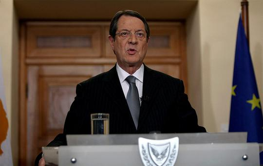 President of Cyprus Nicos Anastasiades addresses the nation with a televised speech from the presidential palace in Nicosia