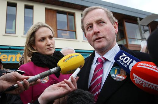 FG candidate Helen McEntee and Taoiseach Enda Kenny campaigning in Ratoath.