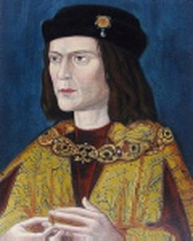 Photo issued by the University of Leicester of the earliest surviving portrait of Richard III in Leicester Cathedral
