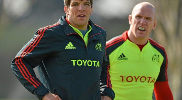 Munster's Donncha O'Callaghan, left, and Paul O'Connell. Photo: Sportsfile